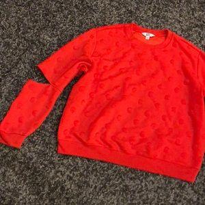 Joy lab orange sweatshirt. Cold elbow!  Polka dot